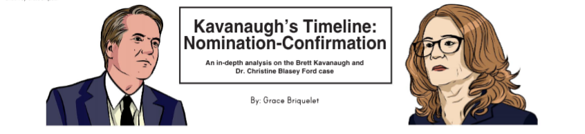 Featuring (left to right): Brett Kavanaugh and Dianne Feinstein. Artwork by: Grace Briquelet
