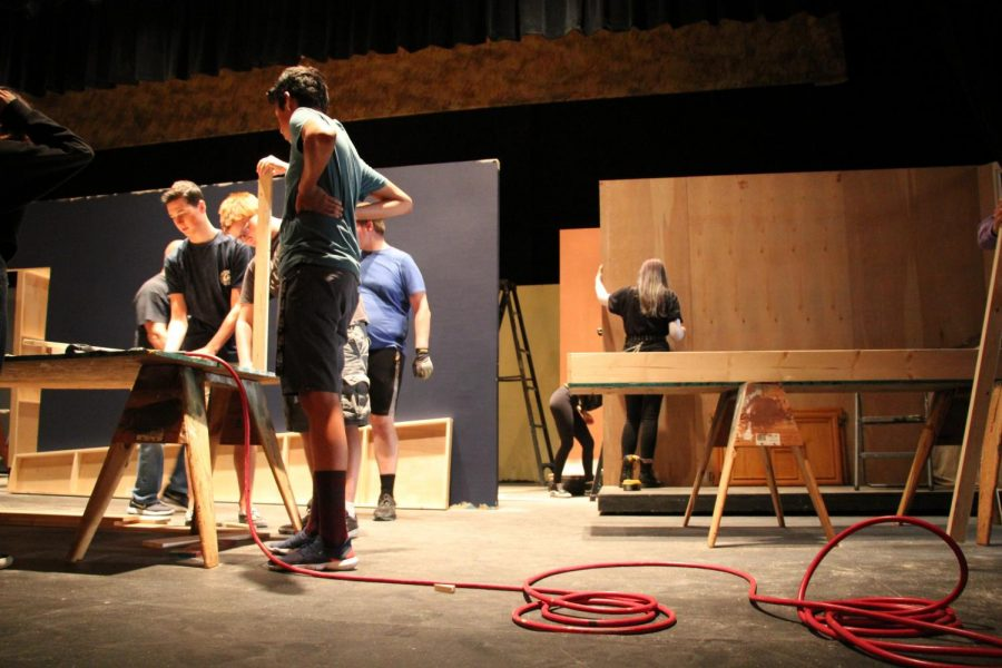 Technical theatre students making sets for APA's upcoming show: Gypsy. Photo by Sarah Hart.