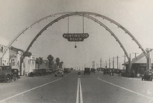 Original Arch Over Main Street and Pacific Coast Highway, Looking South; 1935