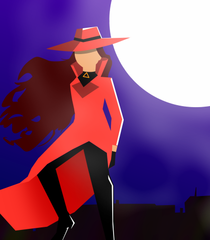 Recreation of scene from the show including the character Carmen Sandiego