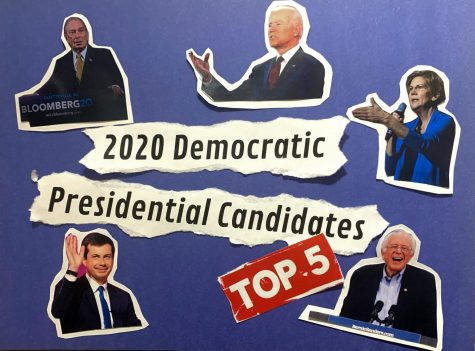 Collage of the top five Democratic presidential candidates.