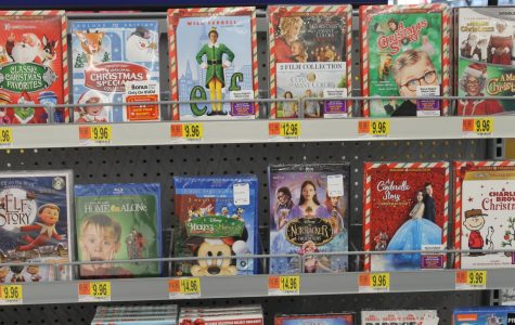 Christmas movie DVD's lined up for sale. Photo by Hana Homma.