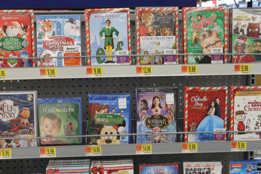 Christmas+movie+DVD%27s+lined+up+for+sale.+Photo+by+Hana+Homma.+
