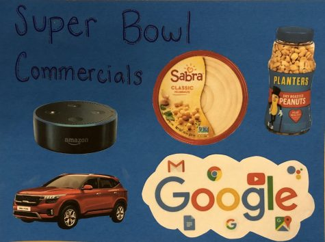 Collage of super bowl commercial relate images. Photo by: Jericho Callender
