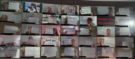 """HBHS students hold up """"Thank You"""" signs for their English teacher. Photography by: Leah McCauley."""
