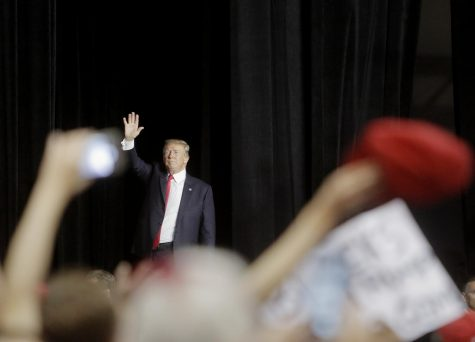 President Donald Trump waves farewell to his supporters after speaking at the Florida State Fairgrounds in Tampa, Fla., in July 2018. Photography from: US-NEWS-FLAGOV-TRUMP-WA. Tribune Content Agency LLC, Chicago, 2018. eLibrary.