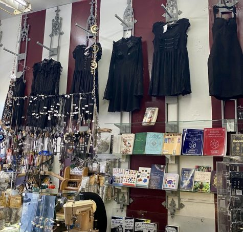 Photo of the selection of dresses and metaphysical supplies at Ipso Facto. Photography by Alexis Jacinta