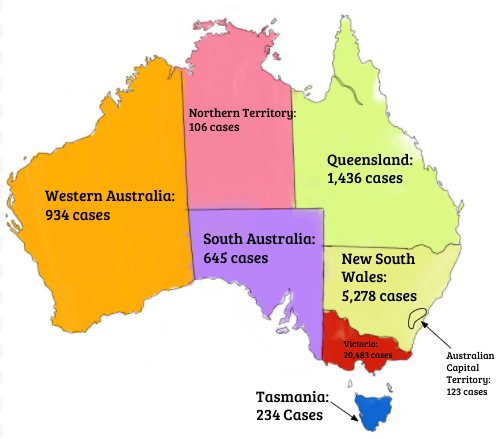 Australian cases of Covid-19. Map created by: Hayley Durrant.