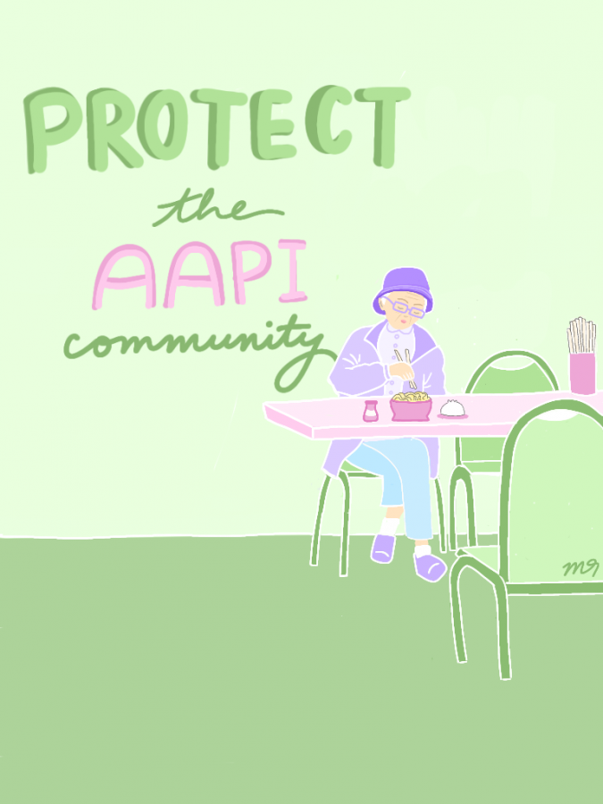 Protect the AAPI community. Original Artwork by: Brenda Nguyen.