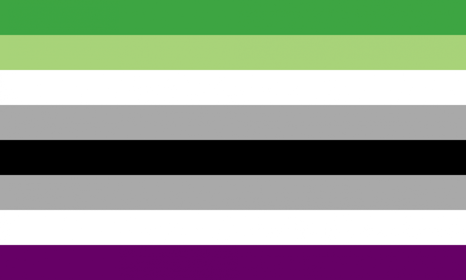 Designed in 2016 by a DeviantArt user, this is one of the many aromantic and asexual flags.  The green stripes represent aromantisim while the purple stand for asexuality.  The white stripes are meant to symbolize inclusion, and the gray demonstrates the spectrum of both asexuality and aromanticism.