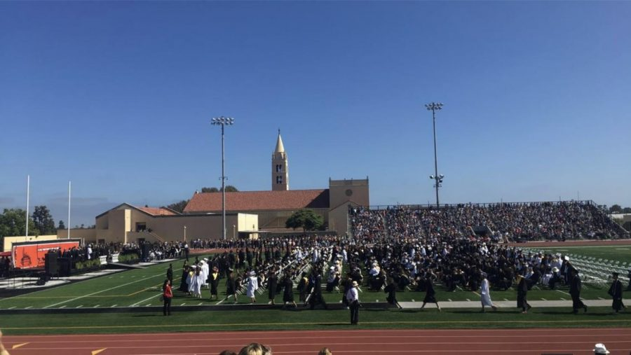 Class of 2018 graduating on the football field.
