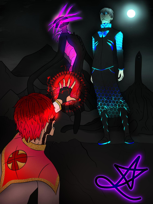 Hero Fallen, Villain Rising.  Original artwork by: Carter Bernard.