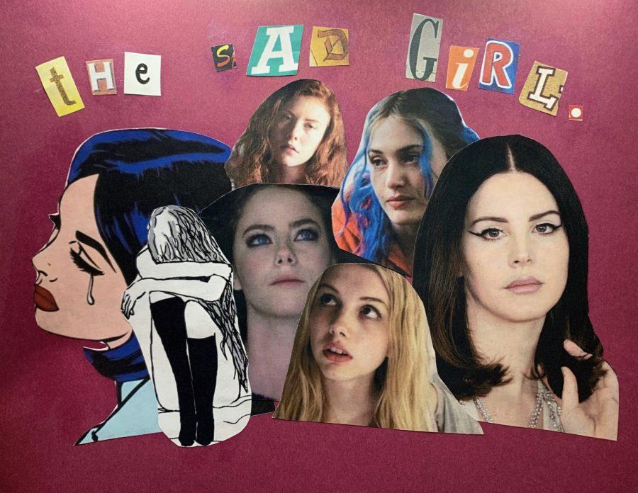 The Sad Girl: Notable Figures original collage by Sarah Hart.